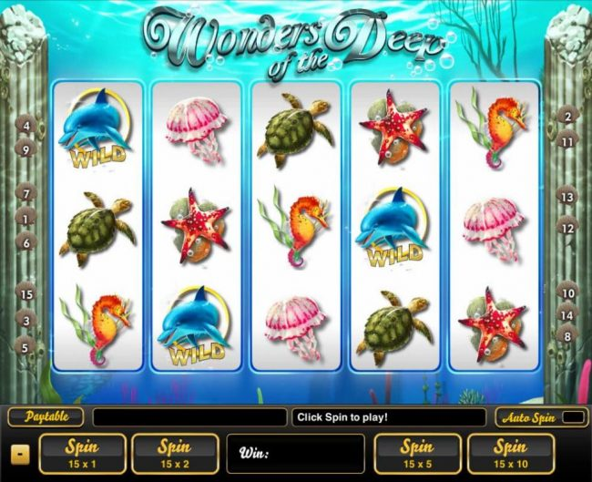 An undersea adventure themed main game board featuring five reels and 15 paylines with a $100,000 max payout