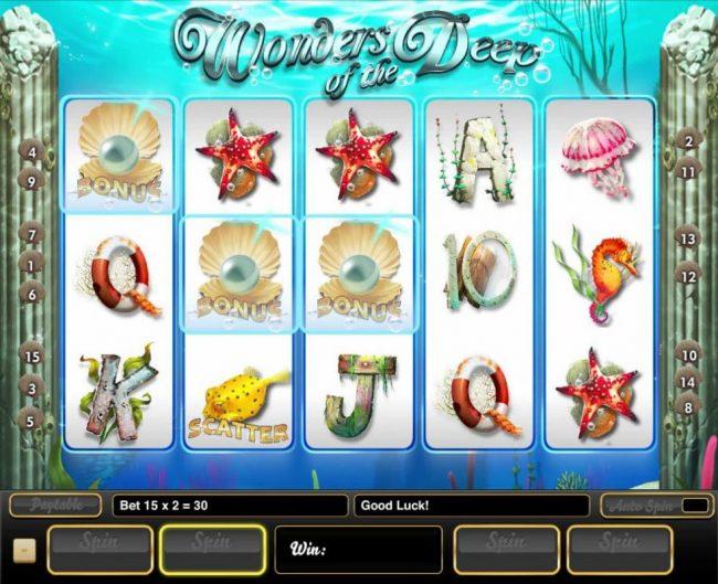 Wonders of the Deep :: Three pearl bonus symbols triggers the Bonus Pick Feature.