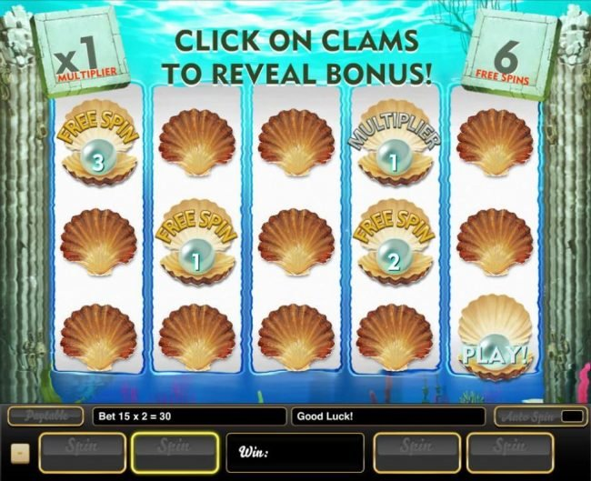 Select clams to reveal free spins and multipliers. Pick feature ends when a Play is revealed.