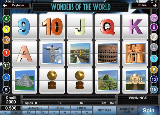 Play slots at Jackie Jackpot: Jackie Jackpot featuring the Video Slots Wonders of the World with a maximum payout of $1,500,000