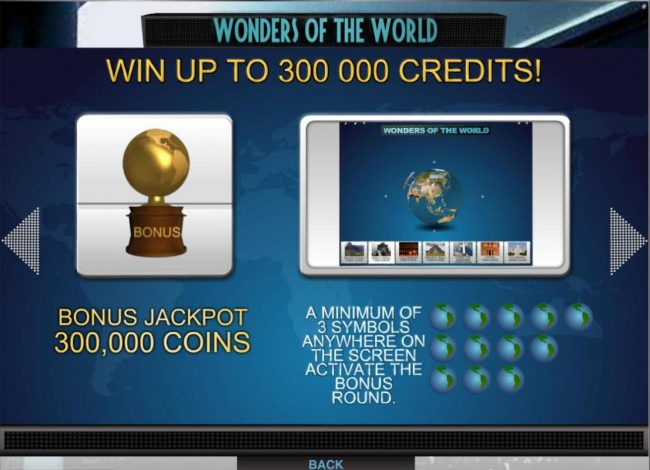 Money Reels featuring the Video Slots Wonders of the World with a maximum payout of $1,500,000