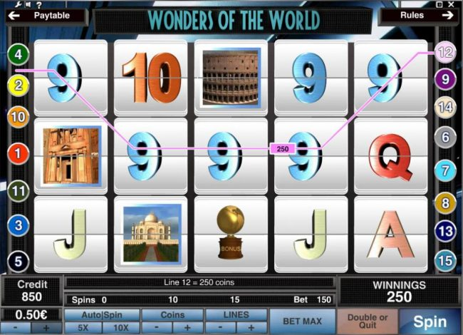 Casdep featuring the Video Slots Wonders of the World with a maximum payout of $1,500,000