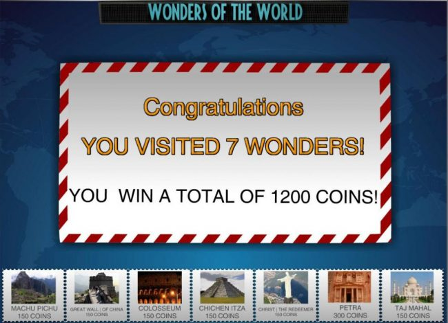 Joe Fortune featuring the Video Slots Wonders of the World with a maximum payout of $1,500,000