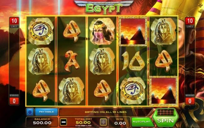 Play slots at Montecryptos: Montecryptos featuring the Video Slots Wonders of Egypt with a maximum payout of $12,500