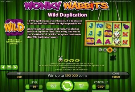 Secret Slots featuring the Video Slots Wonky Wabbits with a maximum payout of 390,000 coins