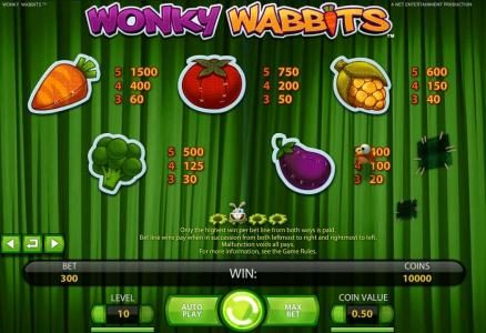 Fruity Vegas featuring the Video Slots Wonky Wabbits with a maximum payout of 390,000 coins
