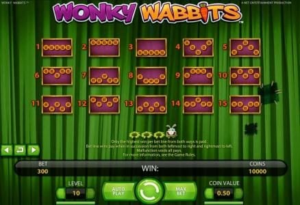 Clover Casino featuring the Video Slots Wonky Wabbits with a maximum payout of 390,000 coins