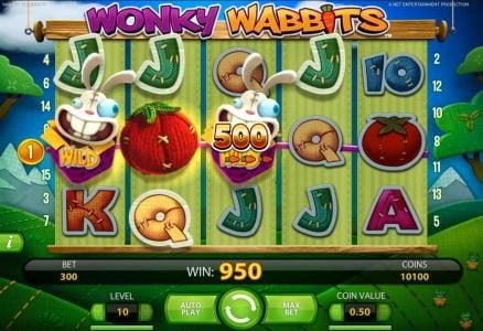 Spin Station featuring the Video Slots Wonky Wabbits with a maximum payout of 390,000 coins