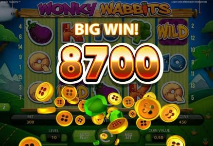 Vegas Baby featuring the Video Slots Wonky Wabbits with a maximum payout of 390,000 coins