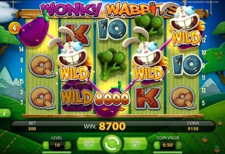 Intercasino featuring the Video Slots Wonky Wabbits with a maximum payout of 390,000 coins