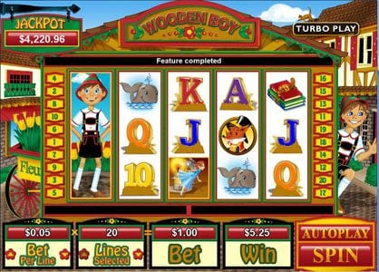 Play slots at Pure Vegas: Pure Vegas featuring the Video Slots Wooden Boy with a maximum payout of $250,000