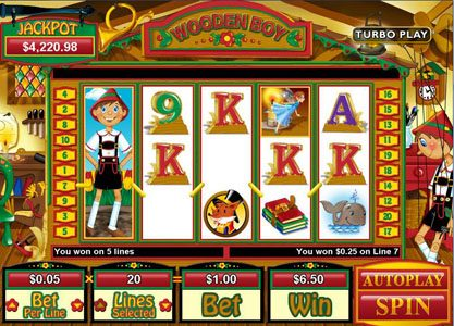 Cool Cat featuring the Video Slots Wooden Boy with a maximum payout of $250,000