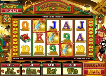 Sloto Cash featuring the Video Slots Wooden Boy with a maximum payout of $250,000