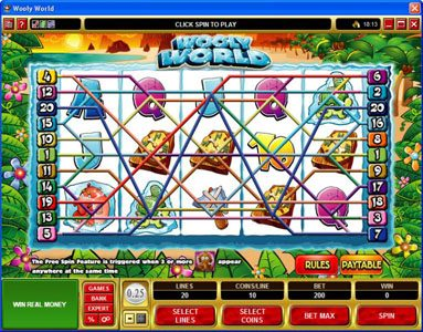Queen Vegas featuring the Video Slots Wooly World with a maximum payout of $125,000