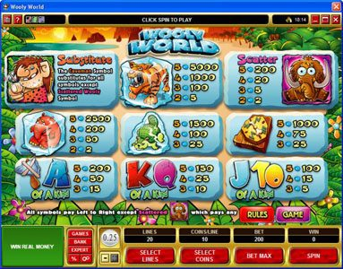 Betway featuring the Video Slots Wooly World with a maximum payout of $125,000