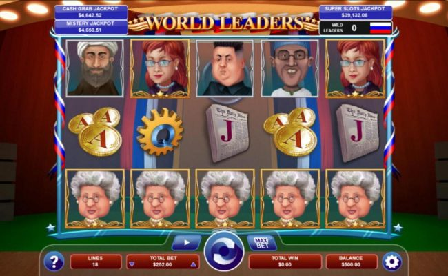 A political themed main game board featuring five reels and 18 paylines with a progressive jackpot max payout