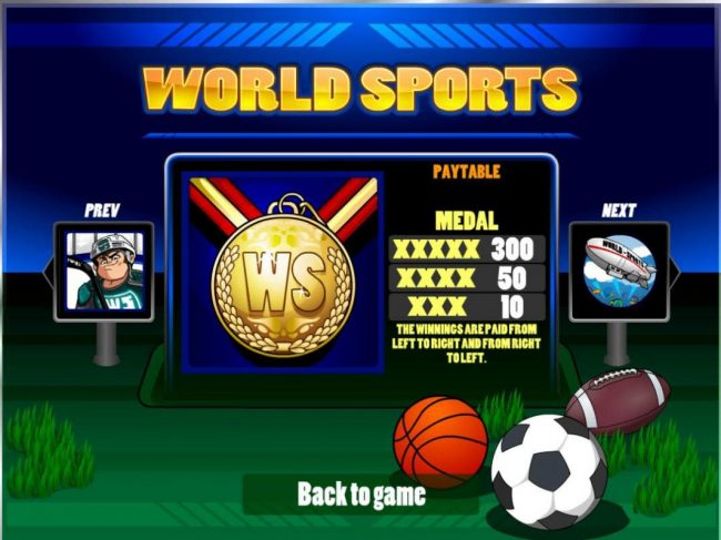 Oshi featuring the Video Slots World Sports with a maximum payout of $20,000