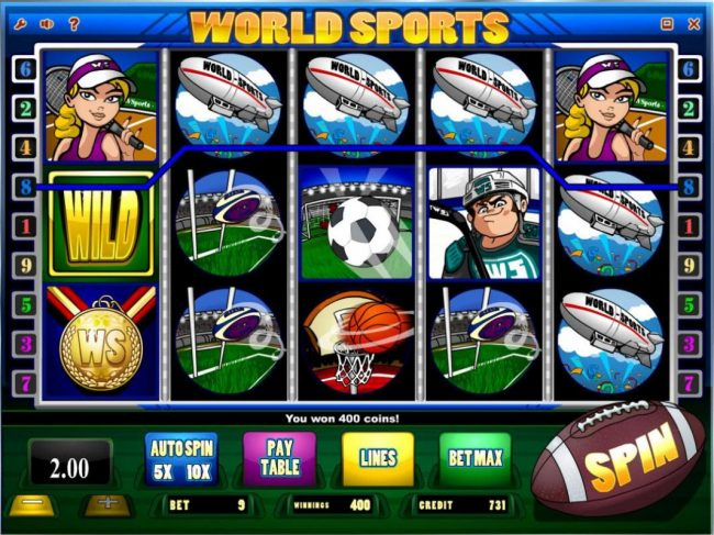 7Bit featuring the Video Slots World Sports with a maximum payout of $20,000