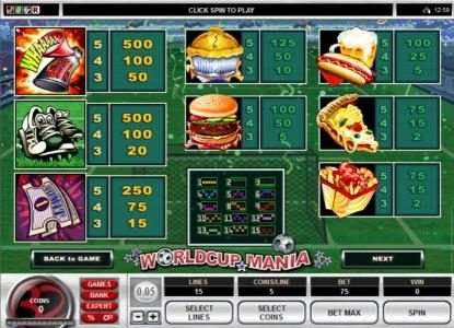 Cabaret Club featuring the Video Slots World Cup Mania with a maximum payout of $37,500
