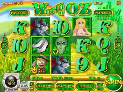 Paradise 8 featuring the Video Slots World of OZ with a maximum payout of $1,875