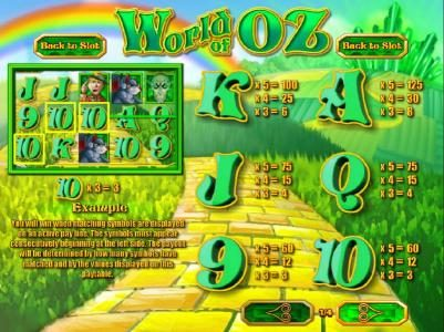 Spintime featuring the Video Slots World of OZ with a maximum payout of $1,875