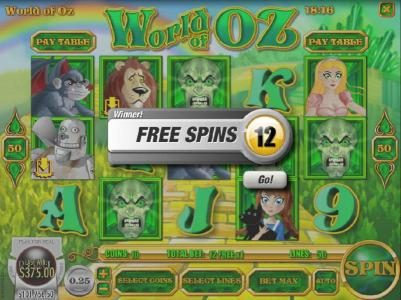 12 free spins awarded