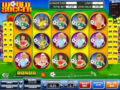 Play slots at Win 7: Win 7 featuring the Video Slots World Soccer with a maximum payout of $5,000