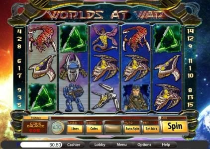 Lake Palace featuring the Video Slots Worlds at War with a maximum payout of $12,500