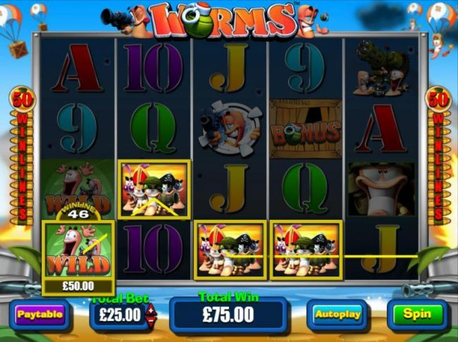 Play slots at Grand Ivy: Grand Ivy featuring the Video Slots Worms with a maximum payout of $250,000