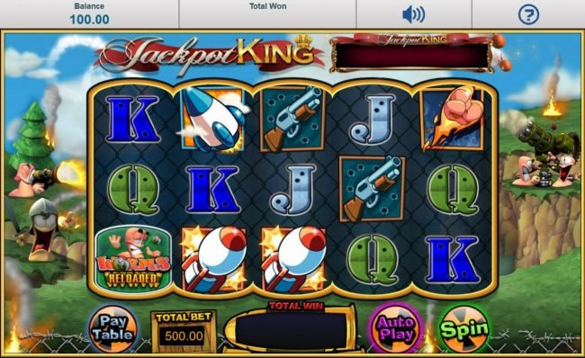 Main game board featuring five reels and 20 paylines with a progressive jackpot max payout