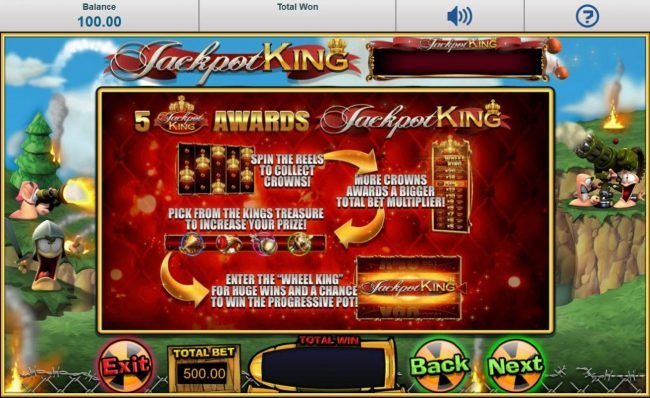 5 Jackpot King symbol awards Jackpot King