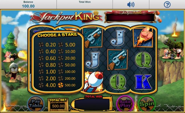 Click on Total Bet to choose a line stake