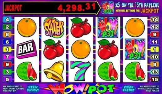 Casino Mate featuring the Video Slots Wow Pot 5 Reel with a maximum payout of Jackpot