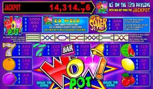 Next Casino featuring the Video Slots Wow Pot 5 Reel with a maximum payout of Jackpot