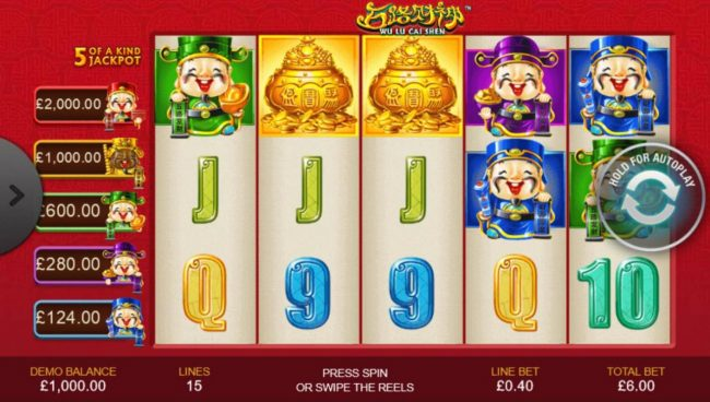 An Asian cultural themed main game board featuring five reels and 15 paylines with a progressive jackpot max payout