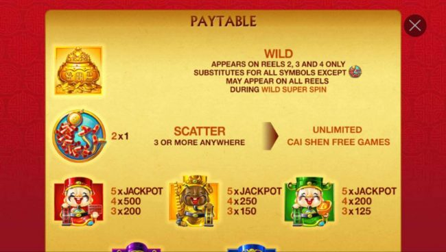 High value slot game symbols paytable featuring Asian wealth inspired icons.