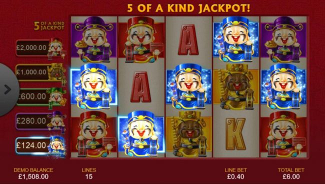 A winning Five of a Kind triggers a progressive jackpot payout.