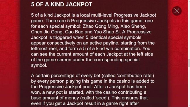 Five of a Kind Jackpot Rules