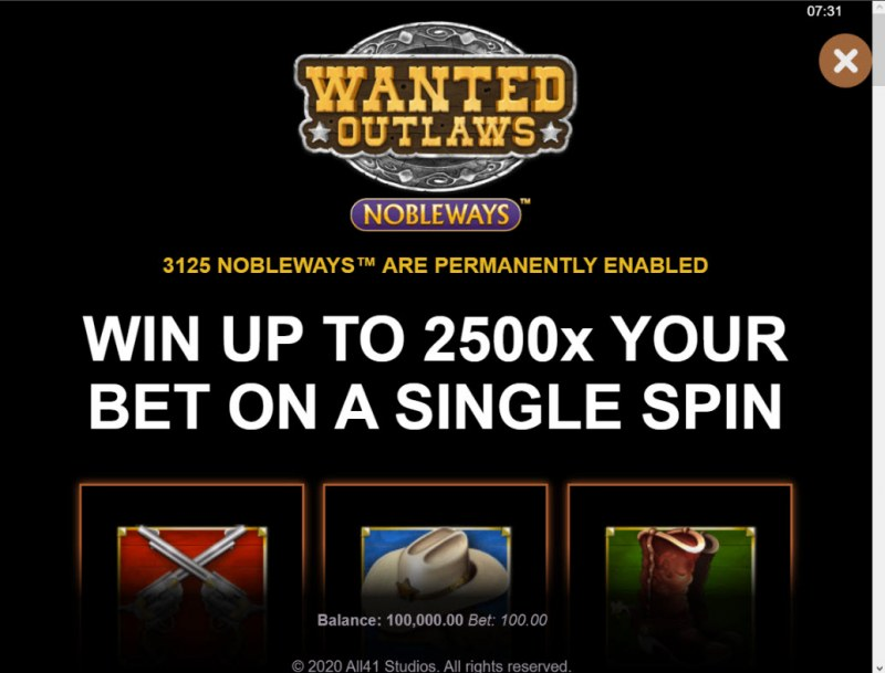 Wanted Outlaws :: Win Up To 2500x