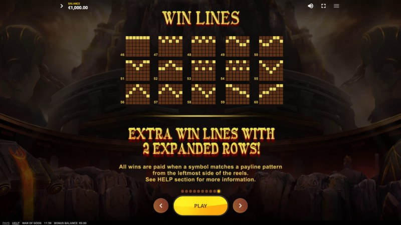 War of Gods :: Extra Win Lines with 2 Expanded Row