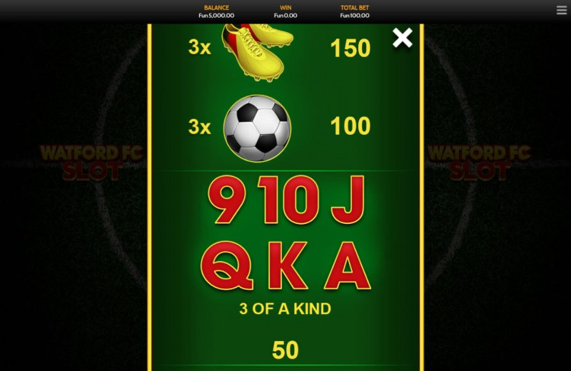 Watford FC Slot :: Paytable - Low Value Symbols