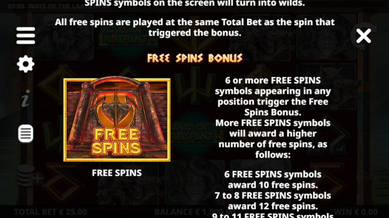 Ways of the Labyrinth :: Free Spins Rules