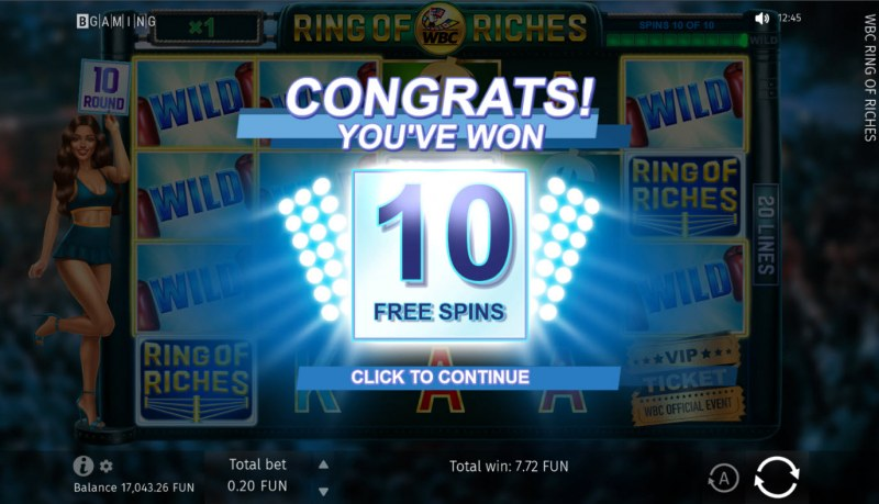 WBC Ring of Riches :: 10 free spins awarded