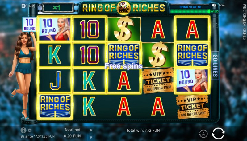WBC Ring of Riches :: Scatter symbols triggers the free spins bonus feature