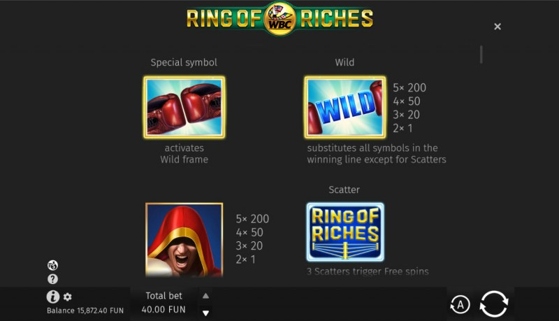 WBC Ring of Riches :: Wild and Scatter Rules