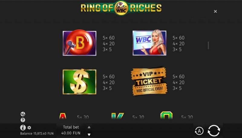 WBC Ring of Riches :: Paytable - Medium Value Symbols