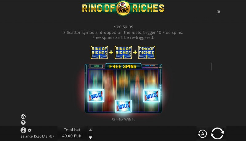 WBC Ring of Riches :: Free Spin Feature Rules