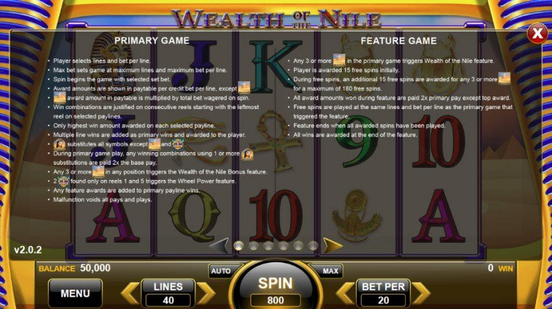 Wealth of the Nile :: Feature Rules