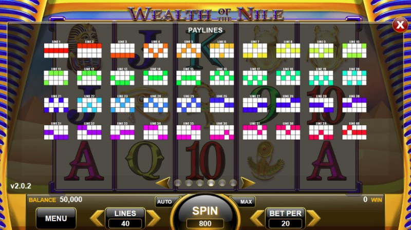 Wealth of the Nile :: Paylines 1-40