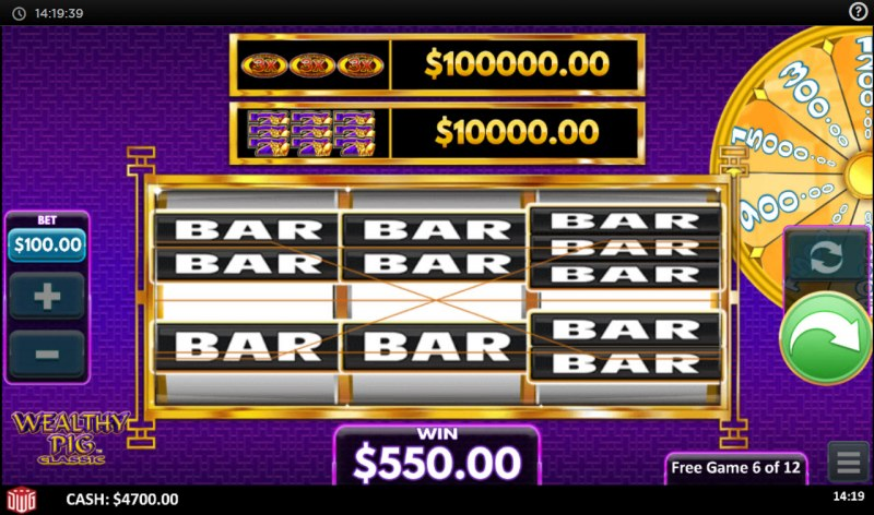 Wealthy Pig Classic :: Any three BAR symbols wins